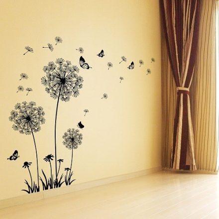 Fekete pitypangok pillangókkal, falmatrica a Dekoráció Webáruházban