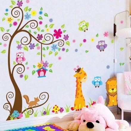 Színes fa és állatok, falmatrica gyerekeknek a Dekoráció Webáruházban