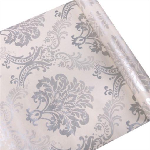 Ezüst-fehér barokk mintás öntapadós tapéta a Dekoráció Webáruházban