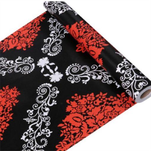 Fekete-fehér-piros mintás öntapadós tapéta a Dekoráció Webáruházban