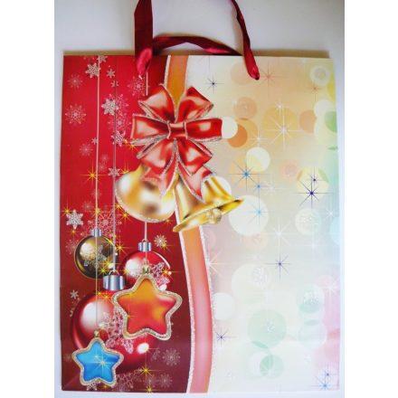 Piros, csillámos karácsonyi ajándéktáska. L méret
