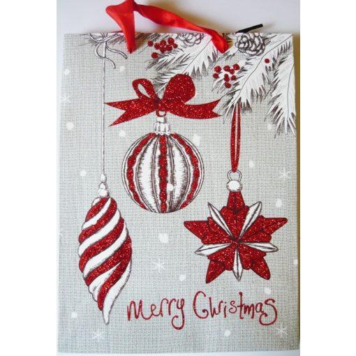Merry Christmas, csillámos ajándéktáska, M méret