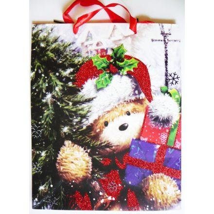 Maci ajándékokkal, csillámos karácsonyi ajándéktáska. L méret