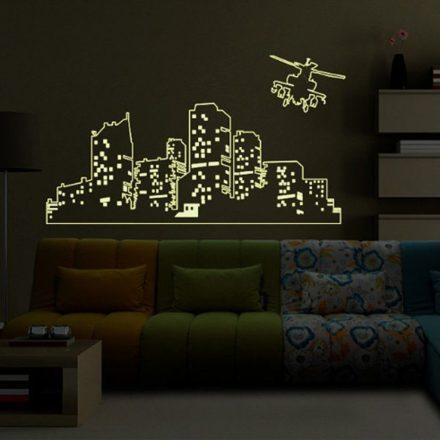 Város helikpterrel, éjjel világító falmatrica a Dekoráció Webáruházban