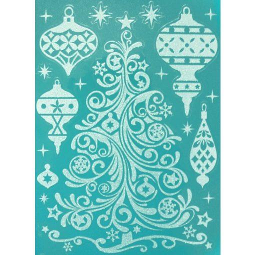 Karácsonyfa, csillámos karácsonyi ablakmatrica a Dekoráció Webáruházban