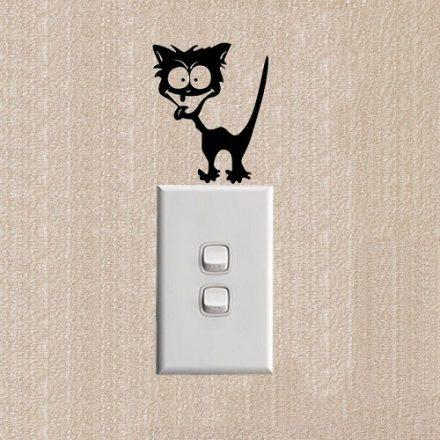 Crazy cat, villanykapcsoló matrica