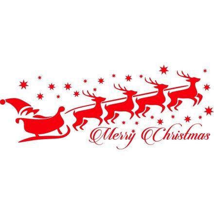 Télapó szánon szarvasokkal, karácsonyi matrica kirakatra a Dekoráció Webáruházban