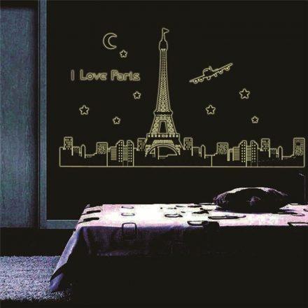 I love glow Paris, éjjel világító falmatrica a Dekoráció Webáruházban