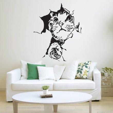 Faltörő cica, falmatrica a Dekoráció Webáruházban