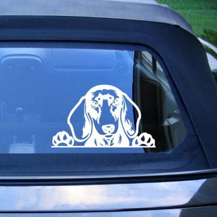 Tacskó autómatrica a Dekormatricák webáruház matricái közül