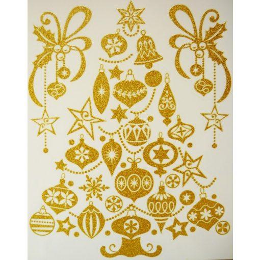 Karácsonyfa, arany csillámos karácsonyi ablakmatrica a Dekoráció Webáruházban