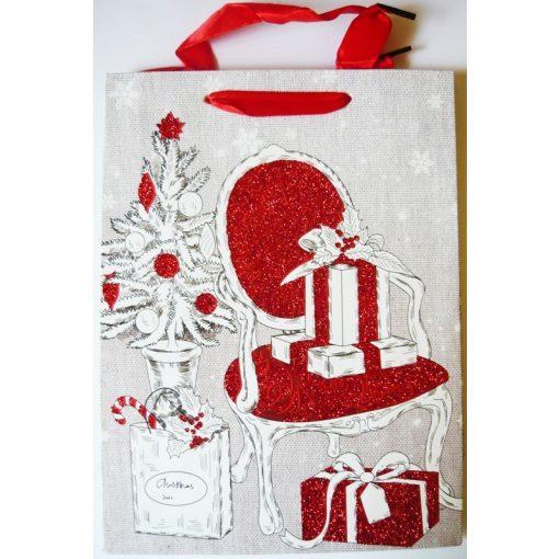 Karácsony, csillámos ajándéktáska, M méret