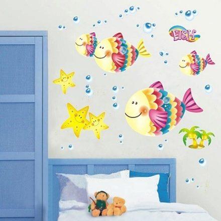 Halacskak gyerekszoba falmatrica mutatos gyerekszoba dekoracio a Dekormatricak webaruhaztol