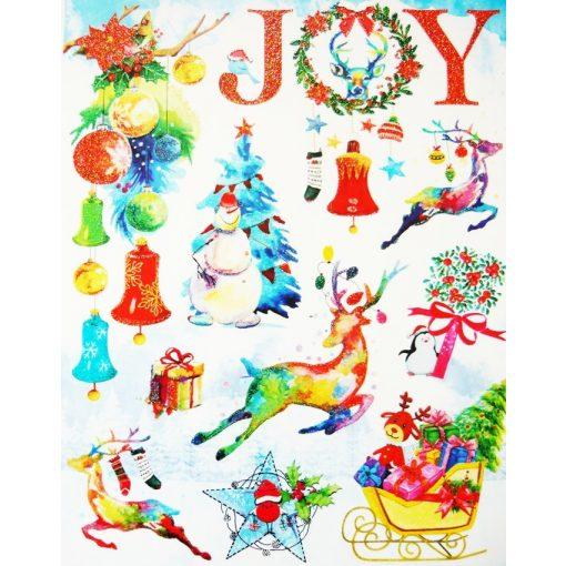 Joy, csillámos karácsonyi ablakmatrica