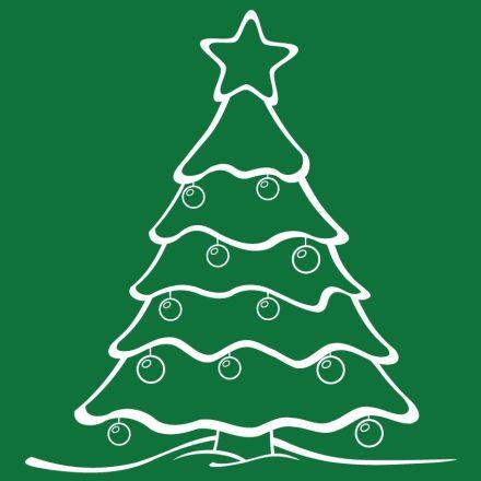 Fenyőfa, karácsonyi matrica kirakatra a Dekoráció Webáruházban