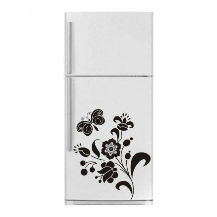 Virágok pillangóval, dekormatrica hűtőszekrényre