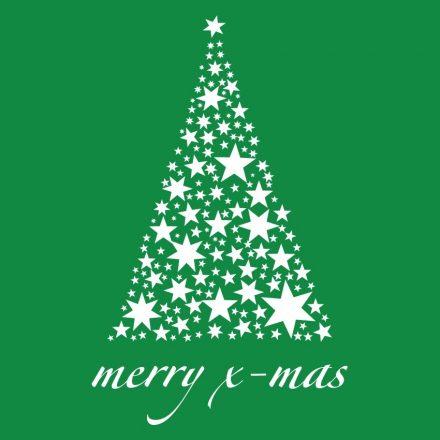 Karácsonyfa csillagokból, karácsonyi matrica kirakatra a Dekoráció Webáruházban