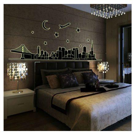 Város, éjjel világító falmatrica a Dekoráció Webáruházban