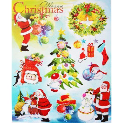 Christmas, csillámos karácsonyi ablakmatrica
