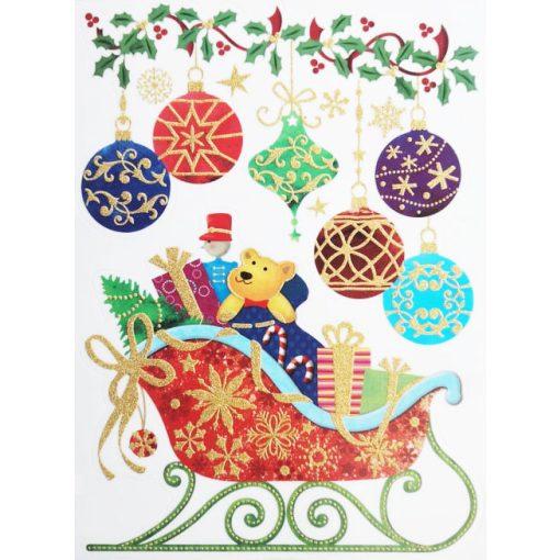 Szán ajándékokkal, csillámos karácsonyi ablakmatrica