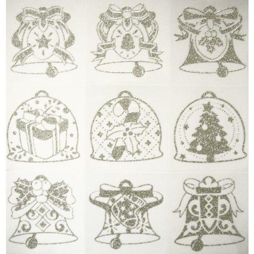 Karácsony-3, ezüst csillámos karácsonyi ablakmatrica