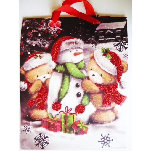 Hóember, csillámos karácsonyi ajándéktáska. L méret