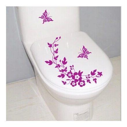 Virágok pillangókkal, toalett díszítő matrica - Dekoráció Webáruház