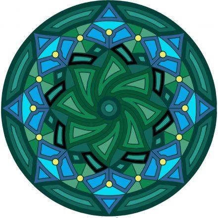 Kék és zöld, mandala falmatrica a Dekoráció Webáruházban