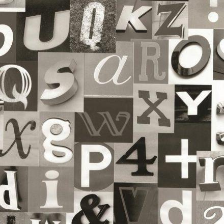 Fekete-szürke betű mintás öntapadós tapéta a Dekoráció Webáruházban
