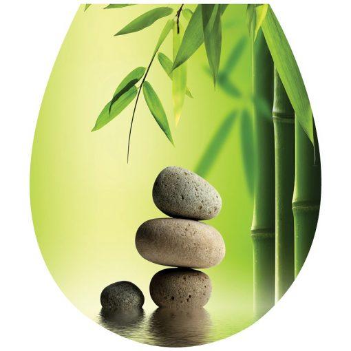 Bambuszok és kövek, toalett díszítő matrica - Dekoráció Webáruház