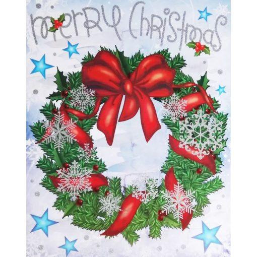 Karácsonyi koszorú, karácsonyi ablakmatrica a Dekoráció Webáruházban