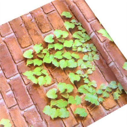 Téglafal növénnyel, 3D öntapadós tapéta a Dekoráció Webáruházban