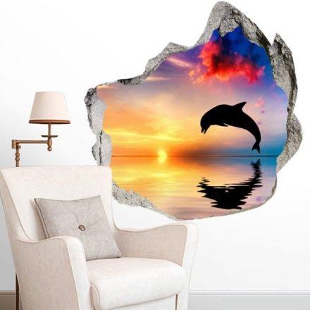 Delfin sziluett a naplementében, faltörő falmatrica a Dekoráció Webáruházban
