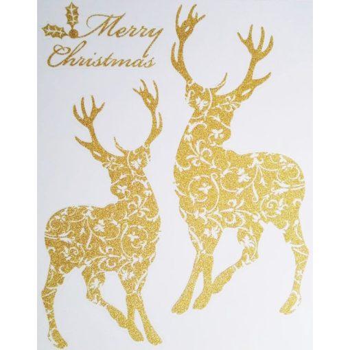 Szarvasok, arany csillámos karácsonyi ablakmatrica a Dekoráció webáruházban