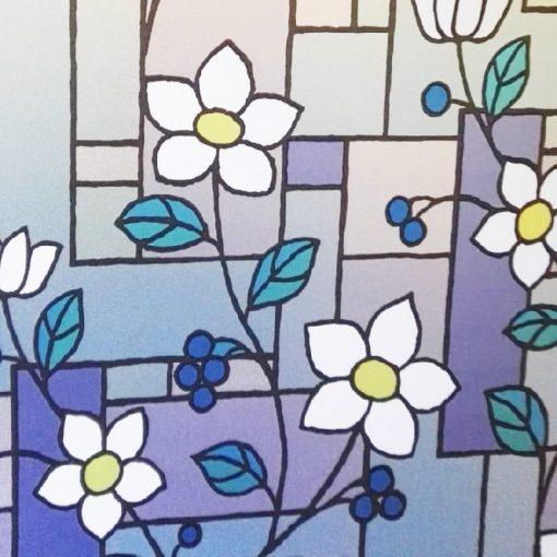Virágmintás ablakdekor matrica a Dekorációk Webáruház kínálatában