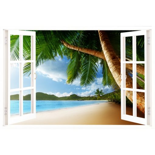 Pálmafák árnyékában, ablakos falmatrica - Dekoráció Webáruház