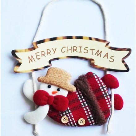 Merry Christmas hóember, karácsonyi ajtódekor a Dekoráció Webáruházban