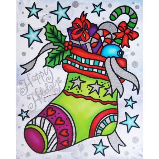 Ajándékok, karácsonyi ablakmatrica a Dekoráció Webáruházban