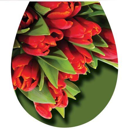 Piros tulipánok, 3D toalett díszítő matrica - Dekoráció Webáruház