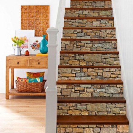Vintage kő mintás lépcsőmatrica