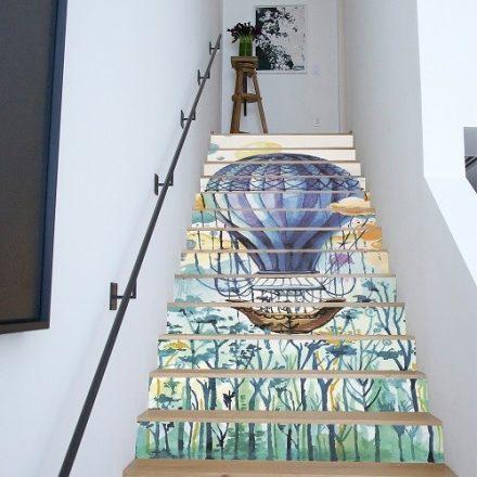 Kék hőlégballon, 3d vízálló lépcsőmatrica