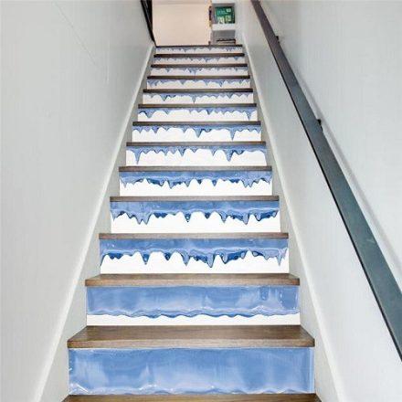 Jégcsapok, 3D vízálló lépcsőmatrica