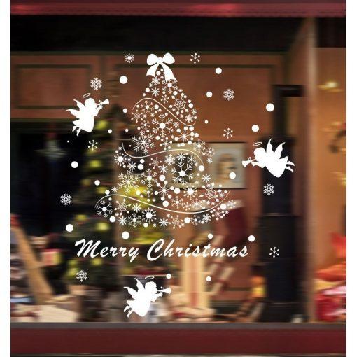 Karácsonyfa hópelyhekből, dekorációs matrica ablakra vagy kirakatra