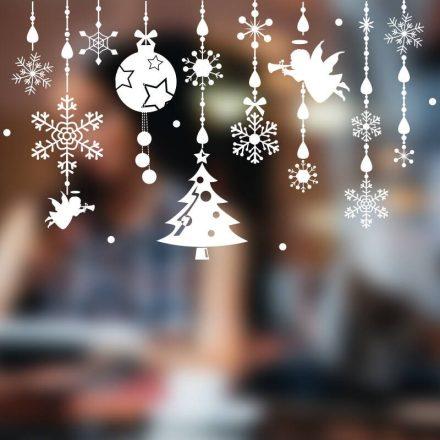 Díszek, nagy karácsonyi dekorációs matrica ablakra vagy kirakatra