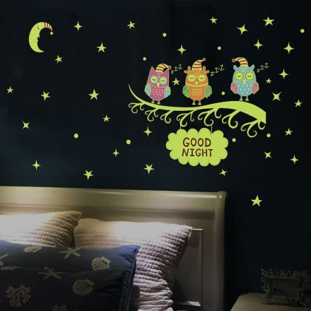 Baglyok, éjjel világító falmatrica