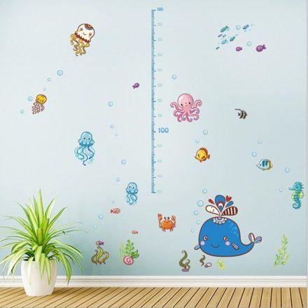 Víz alatti bébiállatok, babaszoba magasságmérő dekor