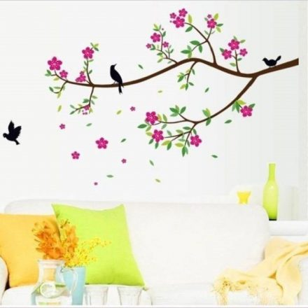 Madárkák a rózsaszín virágos ágon, falmatrica a Dekoráció Webáruházban