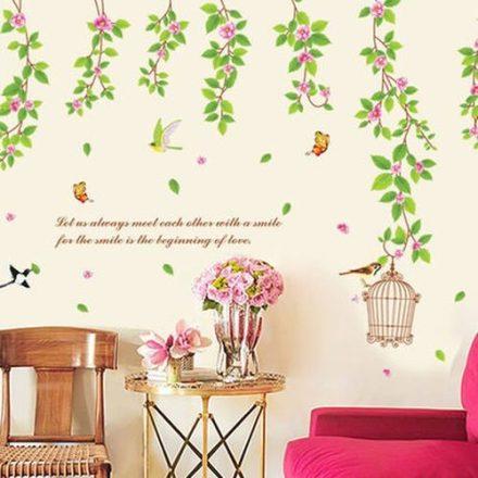 Virágos ág pillangókkal, madarakkal, falmatrica a Dekoráció Webáruházban