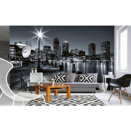 Fekete-fehér éjszakai városkép, poszter tapéta 375*250 cm