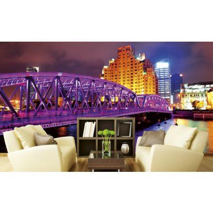 Lila kivilágított híd, poszter tapéta 375*250 cm